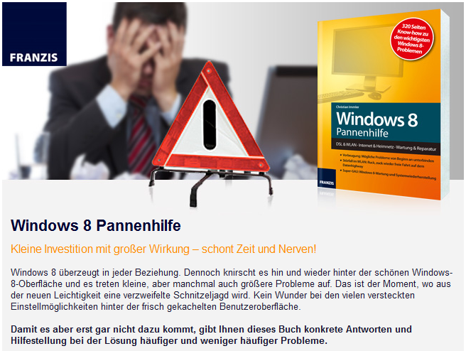 Newsletter Windows 8 Pannenhilfe